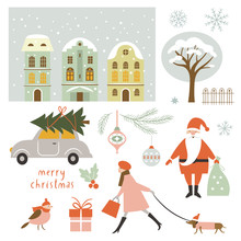 Set Of Vector Christmas Elements And Illustrations