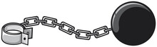 Ball And Iron Chain With Shackle (criminal Design)