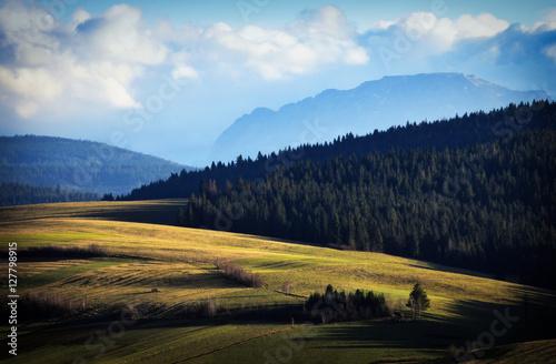 Fototapeta Autumn mountainous meadows before sunset obraz na płótnie