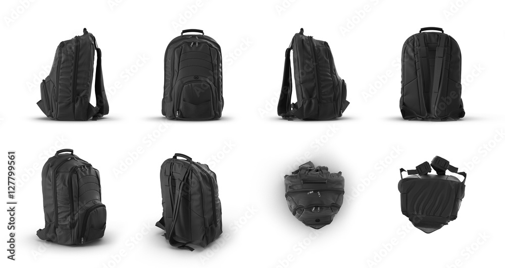 Fototapety, obrazy: School backpack, renders set from different angles on a white. 3D illustration