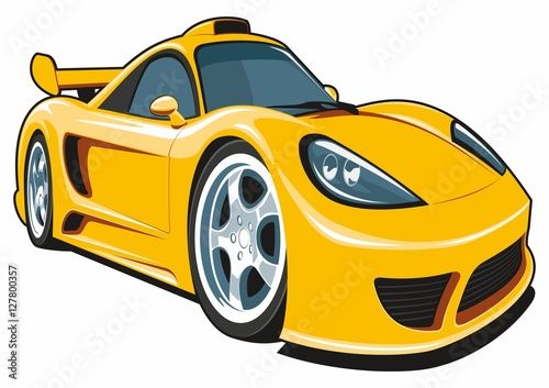 Staande foto Cartoon cars Vector isolated cartoon yellow sport car on white background.
