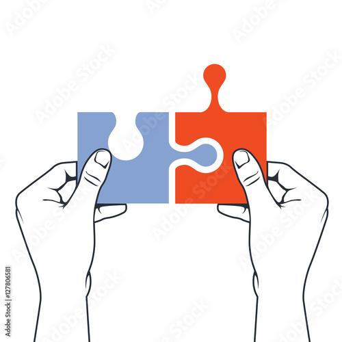 Fotografie, Obraz  Hands joining puzzle piece - association and merger concept