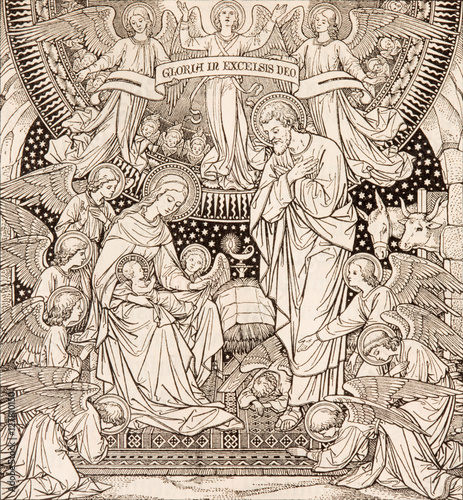 Vászonkép BRATISLAVA, SLOVAKIA, NOVEMBER - 21, 2016: The lithography of Nativity in Missale Romanum by unknown artist with the initials F