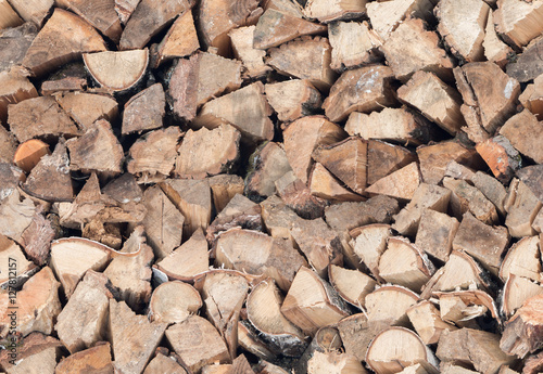 Poster Brandhout textuur Seamless firewood texture or background