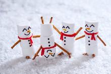 Happy Funny Marshmallow Snowma...