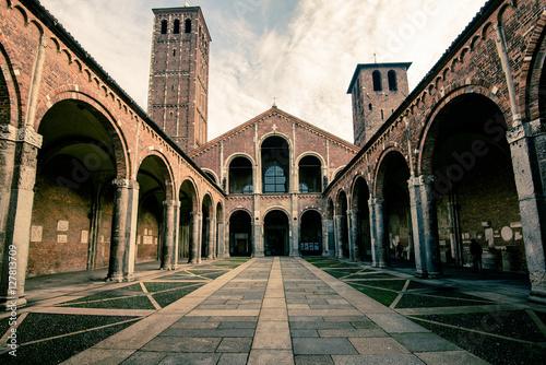 Fotografie, Obraz  view of Saint Ambrogio basilica Milan city  - portico detail