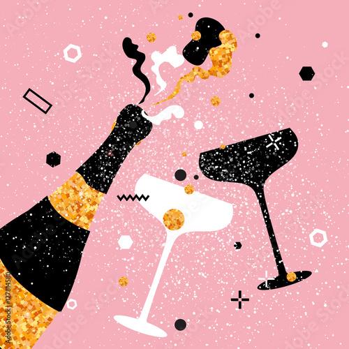 Fényképezés Champagne flutes and bottle