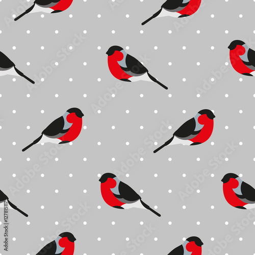 Cotton fabric Seamless pattern  in polka dot with bullfinch. Ornament for textile and wrapping. Vector background.
