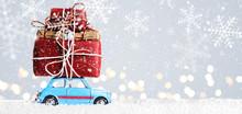 Blue Retro Toy Car Delivering ...