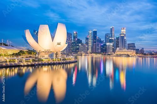 Cityscape of Singapore city skyline at night Canvas Print