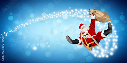 santa claus flying on a sleigh crazy fast funny with his. Black Bedroom Furniture Sets. Home Design Ideas