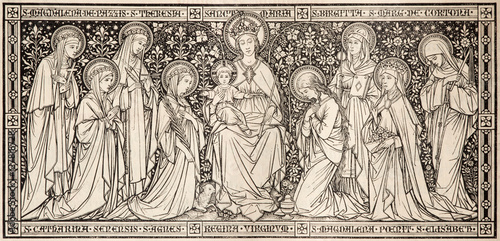 BRATISLAVA, SLOVAKIA, NOVEMBER - 21, 2016: The lithography Madonna among the virgins designed by unknown artist with the initials F Slika na platnu