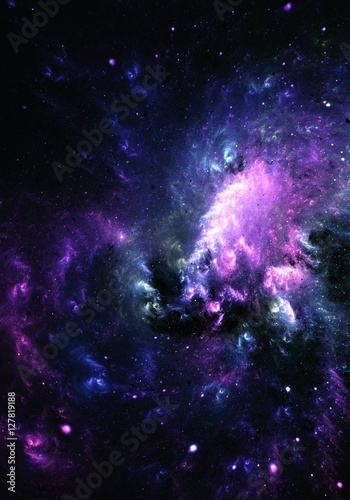 Abstract painting of a colorful Nebula Galaxy
