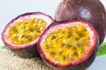 Passion fruits slice and juicy