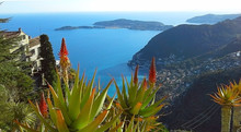 Beautiful View Of The Village Of Eze, A Botanical Garden With Cacti, Aloe. Mediterranean, French Riviera