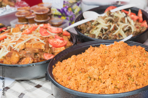 Street food - The choice of dishes from the cuisine of Ivory Coast