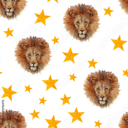 Cotton fabric Watercolor seamless pattern with lion face and stars isolated on white. Circus theme background