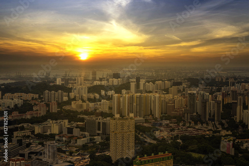 Spoed Foto op Canvas Tokyo abstract scene sunset of cityscape and yellow sun and sky - can use to display or montage on product