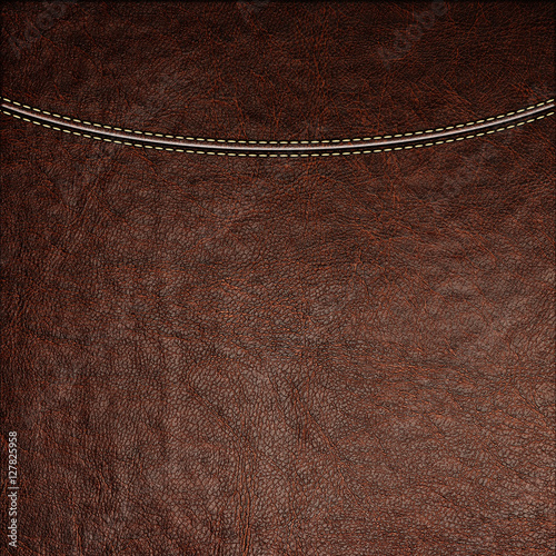 Fotobehang Stof Texture of brown leather background with stitched seam, close-up. Texture for design.