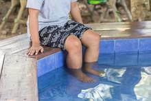Nature Spa, Legs Of Woman In Hot Springs Pond, Mae Hong Son, Tha