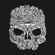 Skull Tattoo In The Style Of Maori With Marine Life. Sea Creatures