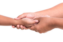 Woman's Hand Holding Children's Hand Isolated On White Backgroun