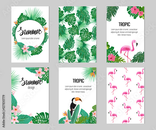 Set of six cards with tropic elements. Seamless patterns with flamingo and tropic plants.