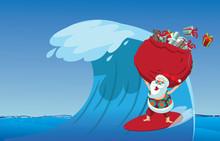 Cartoon Santa Claus Surfing A ...