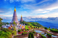 Landmark Pagoda In Doi Inthanon National Park At Chiang Mai, Thailand.