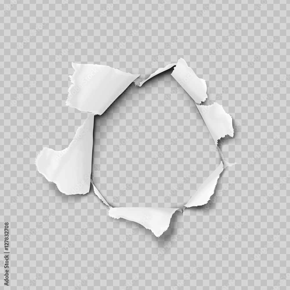 Fototapeta Torn paper realistic, hole in the sheet of paper on a transparent background. No gradient mesh. Vector illustrations.