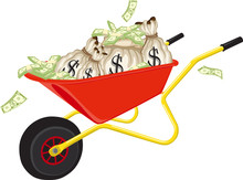 Full Sack And Cash Of Dollar Pile Of Money Finance In A Wheel Barrow Vector Illustration