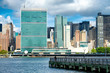 View of the midtown Manhattan skyline including the United Nations building