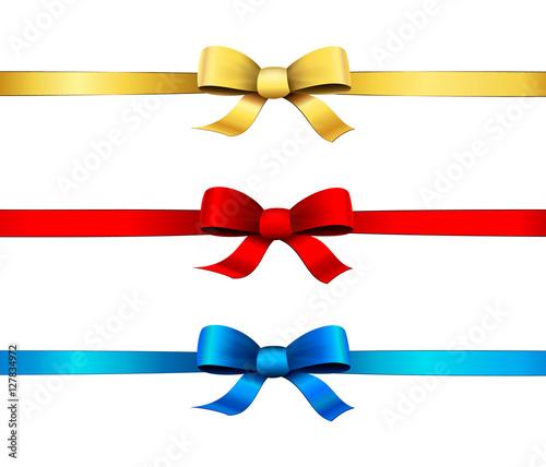 Photo  Rubans et nœuds - Doré, rouge et bleu