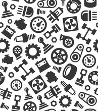 Auto Car Spare Parts Seamless Pattern Background. Vector