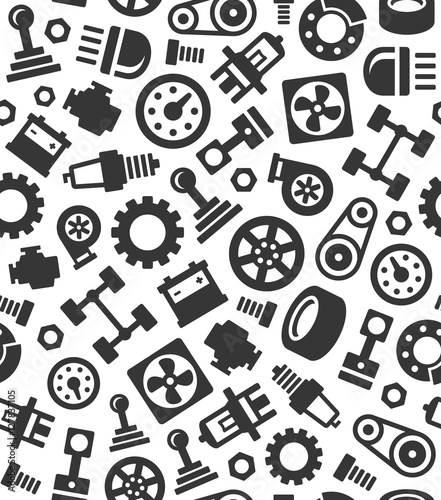 Auto Car Spare Parts Seamless Pattern Background. Vector - 127837105