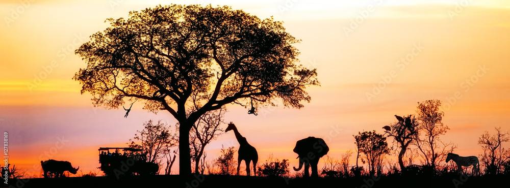 Fototapety, obrazy: African Safari Silhouette Banner