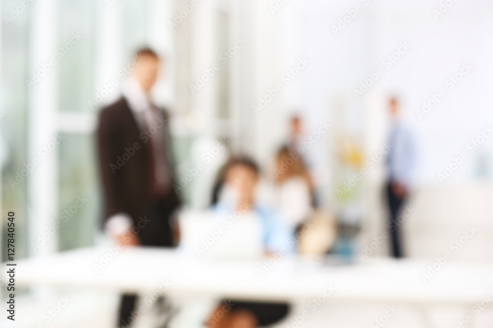 Fototapety, obrazy: Business people working at office, blurred background