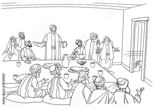 Slika na platnu Judas runs from the room and ran to betray of Jesus Christ