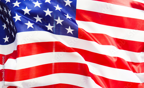 Photo Stands United States Ruffled American flag, closeup