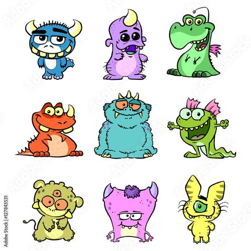 Deurstickers Monster Set mit niedlichen Cartoon Kreaturen