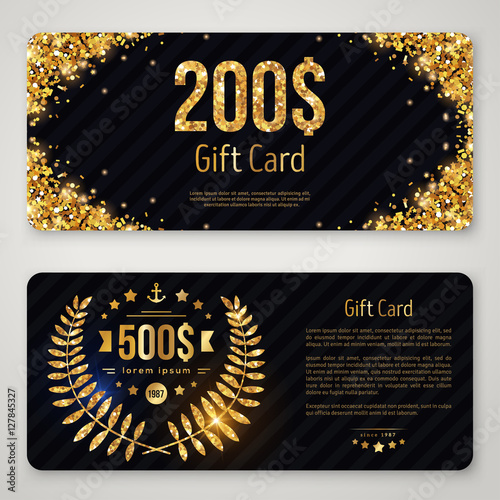 Fotografie, Obraz  Gift card template with gold laurel wreath