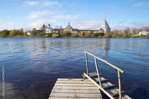 Fotografering  View of the Old Ladoga fortress from the right river bank Volkhov in the October afternoon