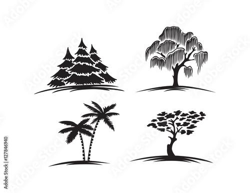 trees set Wallpaper Mural