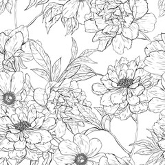 Floral hand drawn seamless pattern with flowers.