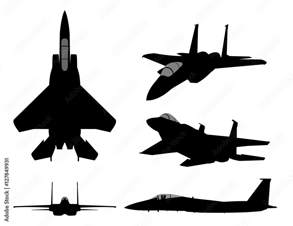 Fototapety, obrazy: Set of military jet fighter silhouettes