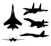 Set Of Military Jet Fighter Si...