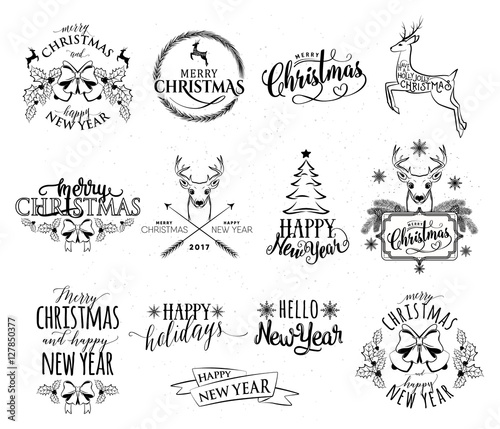 Staande foto Positive Typography Vector illustration of Merry Christmas and Happy New Year set
