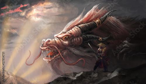 Foto op Plexiglas Draken Chinese dragon and his master