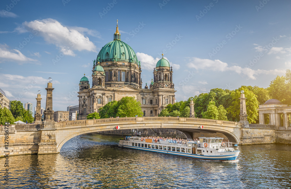 Fototapety, obrazy: Berlin Cathedral with ship on Spree river at sunset, Berlin Mitte, Germany