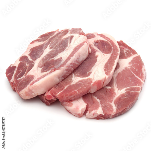 Staande foto Vlees Raw pork chop meat isolated on white background cutout